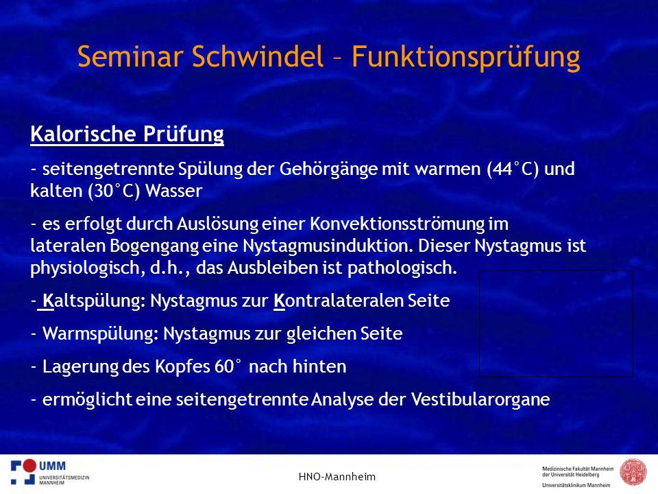 HNO-Mannheim Seminar Schwindel – Funktionsprüfung Kalorische Prüfung - seitengetrennte Spülung der Gehörgänge mit warmen (44°C) und kalten (30°C) Wass