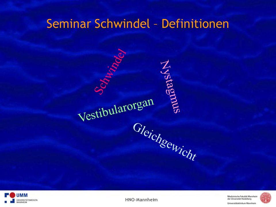 HNO-Mannheim Seminar Schwindel – Untersuchung Die Richtung eines horizontalen Nystagmus wird (historisch) nach der schnellen Phase definiert, der eigentliche Reflexe ist aber die langsame Phase.