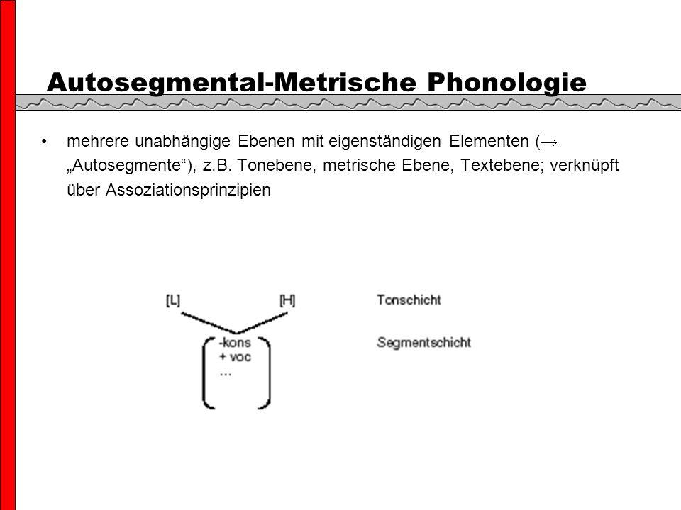 Autosegmental-Metrische Phonologie mehrere unabhängige Ebenen mit eigenständigen Elementen ( Autosegmente), z.B.