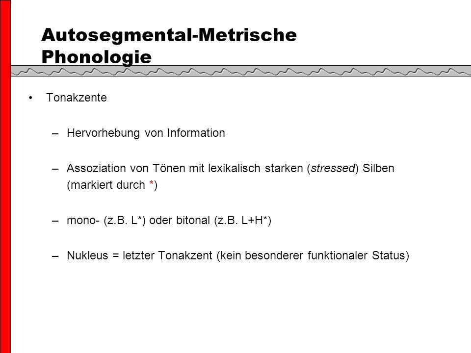 Autosegmental-Metrische Phonologie Tonakzente –Hervorhebung von Information –Assoziation von Tönen mit lexikalisch starken (stressed) Silben (markiert durch *) –mono- (z.B.