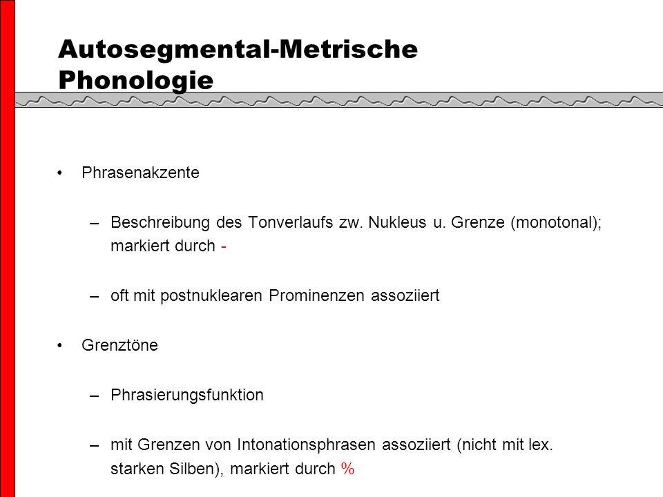 Autosegmental-Metrische Phonologie Phrasenakzente –Beschreibung des Tonverlaufs zw.