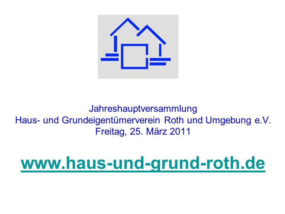 Jahreshauptversammlung Haus- und Grundeigentümerverein Roth und Umgebung e.V. Freitag, 25. März 2011 www.haus-und-grund-roth.de www.haus-und-grund-rot