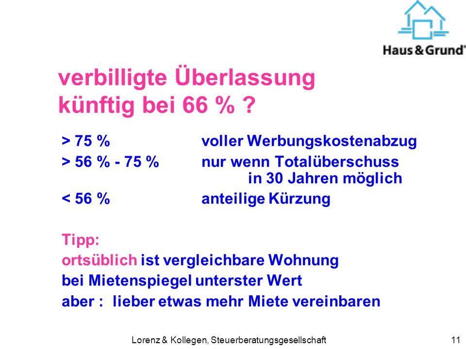 Lorenz & Kollegen, Steuerberatungsgesellschaft11 verbilligte Überlassung künftig bei 66 % ? > 75 % voller Werbungskostenabzug > 56 % - 75 %nur wenn To