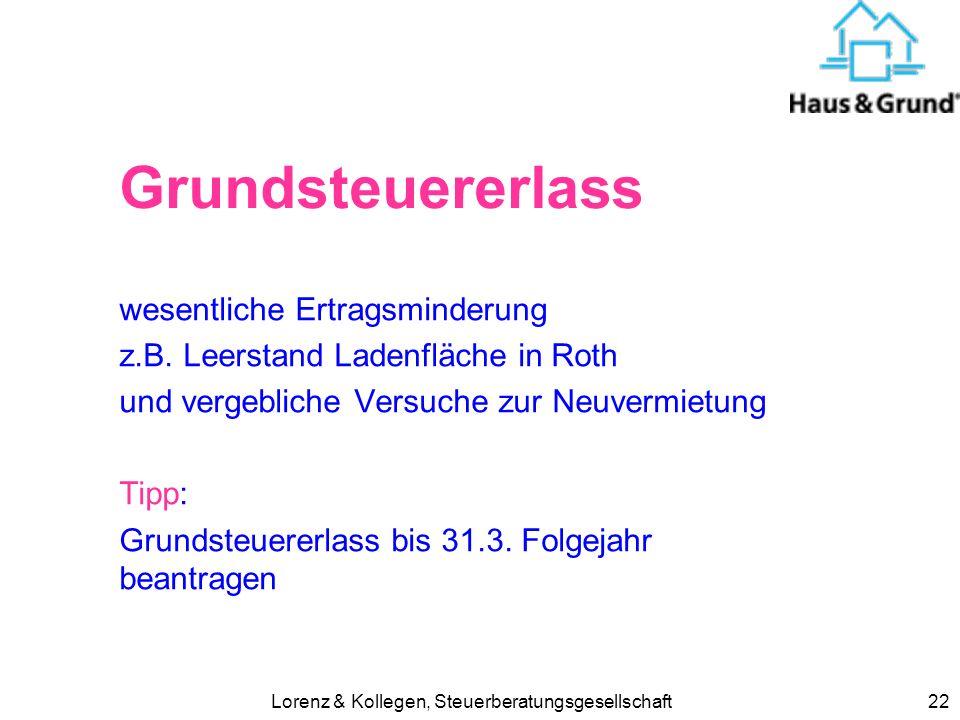 Lorenz & Kollegen, Steuerberatungsgesellschaft22 Grundsteuererlass wesentliche Ertragsminderung z.B. Leerstand Ladenfläche in Roth und vergebliche Ver