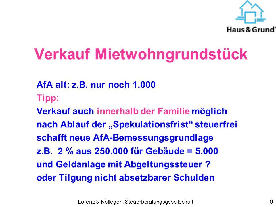 Lorenz & Kollegen, Steuerberatungsgesellschaft9 Verkauf Mietwohngrundstück AfA alt: z.B. nur noch 1.000 Tipp: Verkauf auch innerhalb der Familie mögli