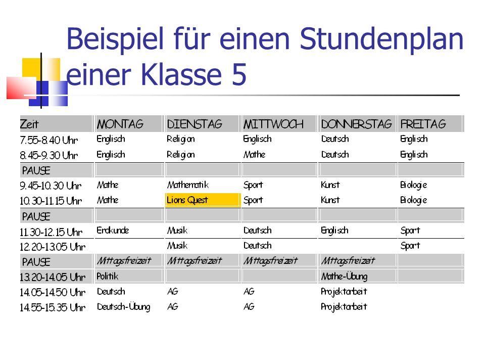 Beispiel für einen Stundenplan einer Klasse 5