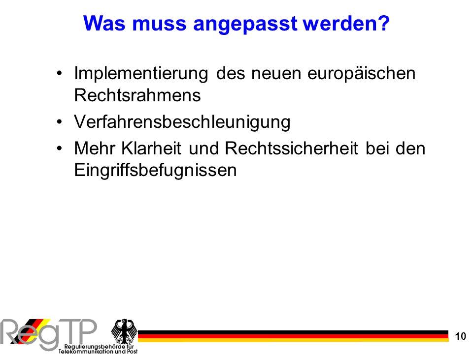 10 Was muss angepasst werden? Implementierung des neuen europäischen Rechtsrahmens Verfahrensbeschleunigung Mehr Klarheit und Rechtssicherheit bei den