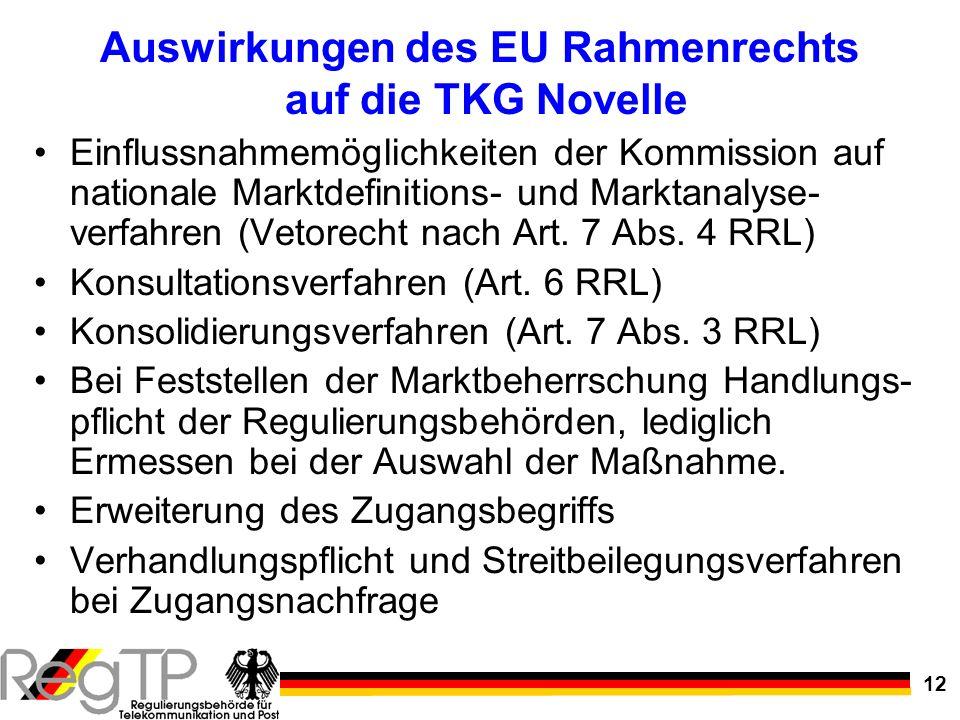 12 Auswirkungen des EU Rahmenrechts auf die TKG Novelle Einflussnahmemöglichkeiten der Kommission auf nationale Marktdefinitions- und Marktanalyse- ve