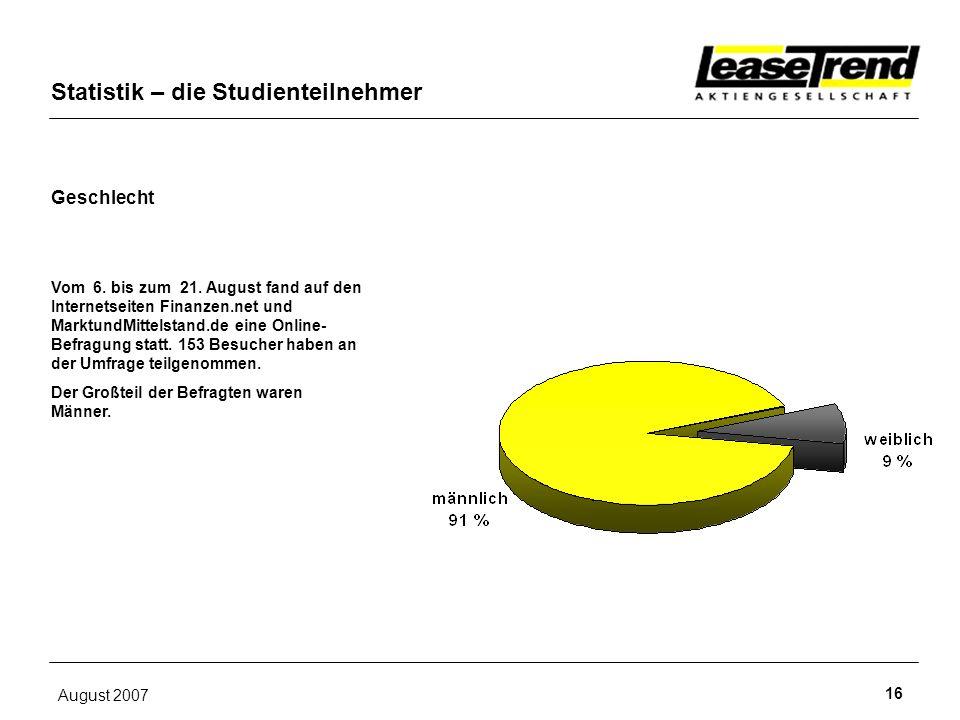 August 2007 16 Geschlecht Statistik – die Studienteilnehmer Vom 6. bis zum 21. August fand auf den Internetseiten Finanzen.net und MarktundMittelstand
