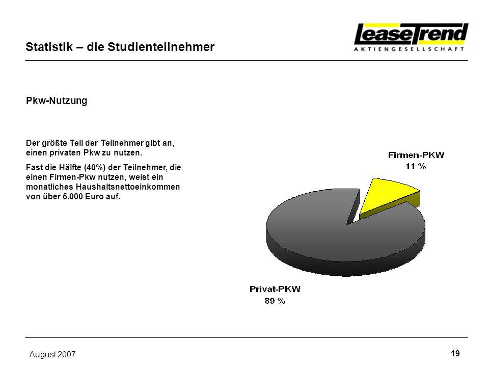 August 2007 19 Pkw-Nutzung Statistik – die Studienteilnehmer Der größte Teil der Teilnehmer gibt an, einen privaten Pkw zu nutzen. Fast die Hälfte (40