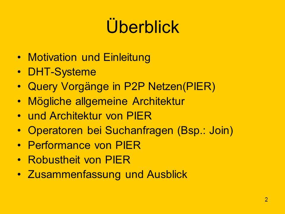 2 Überblick Motivation und Einleitung DHT-Systeme Query Vorgänge in P2P Netzen(PIER) Mögliche allgemeine Architektur und Architektur von PIER Operatoren bei Suchanfragen (Bsp.: Join) Performance von PIER Robustheit von PIER Zusammenfassung und Ausblick