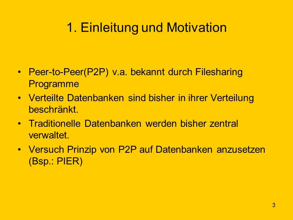 4 Einleitung und Motivation(2) Näherung von der Datenbankseite durch Lockerung der Designprinzipien: 1.Konsistenz 2.Anpassende Skalierung 3.Natürliche Umgebung von Daten 4.Standardisierte Schemas über eine populäre Software