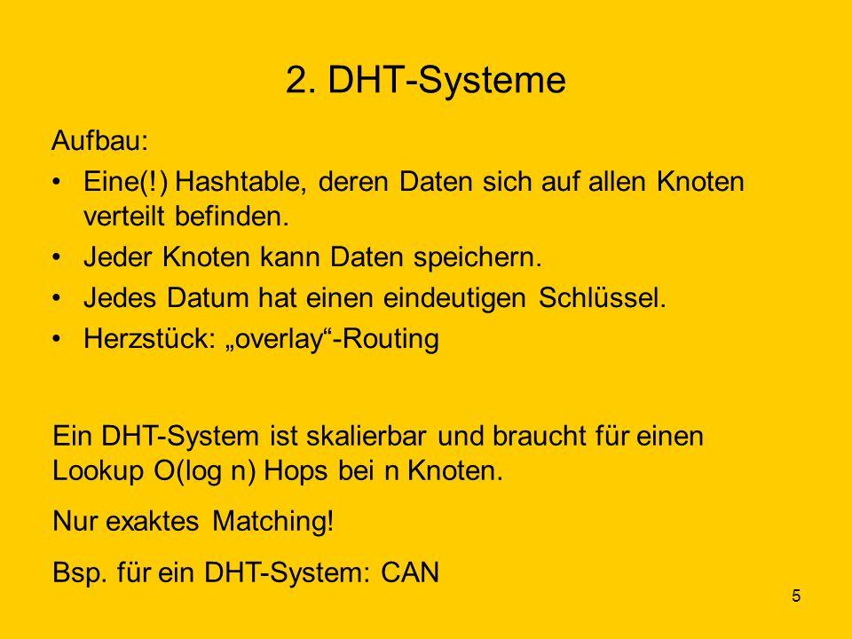 5 2. DHT-Systeme Aufbau: Eine(!) Hashtable, deren Daten sich auf allen Knoten verteilt befinden.