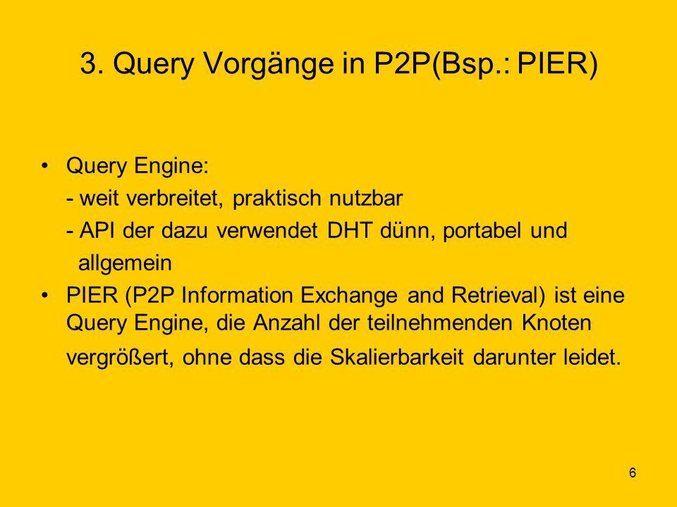 6 3. Query Vorgänge in P2P(Bsp.: PIER) Query Engine: - weit verbreitet, praktisch nutzbar - API der dazu verwendet DHT dünn, portabel und allgemein PI