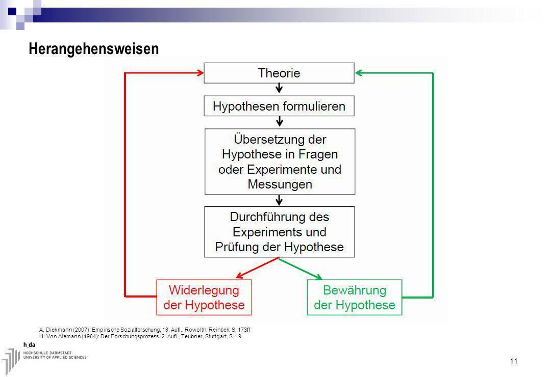 Herangehensweisen 11 A.Diekmann (2007): Empirische Sozialforschung, 18.