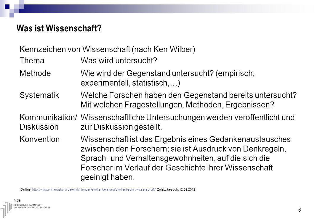 Was ist Wissenschaft.Kennzeichen von Wissenschaft (nach Ken Wilber) Thema Was wird untersucht.