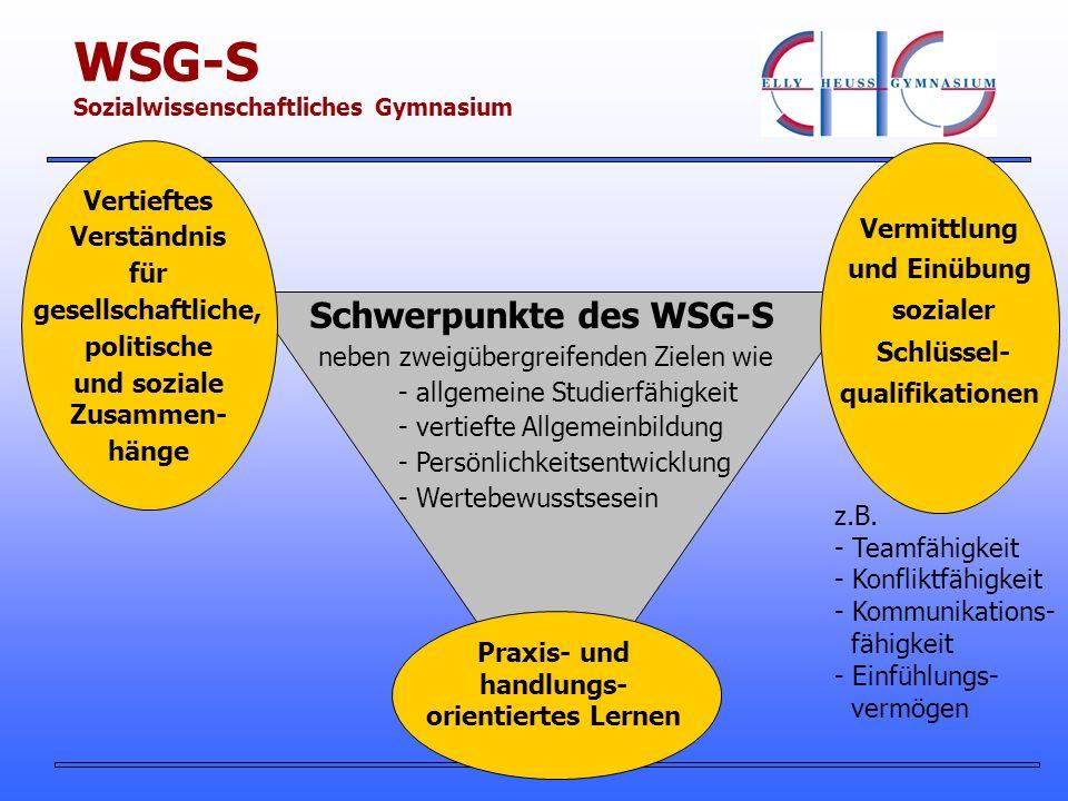 Schwerpunkte des WSG-S neben zweigübergreifenden Zielen wie - allgemeine Studierfähigkeit - vertiefte Allgemeinbildung - Persönlichkeitsentwicklung - Wertebewusstsesein Praxis- und handlungs- orientiertes Lernen Vermittlung und Einübung sozialer Schlüssel- qualifikationen Vertieftes Verständnis für gesellschaftliche, politische und soziale Zusammen- hänge z.B.