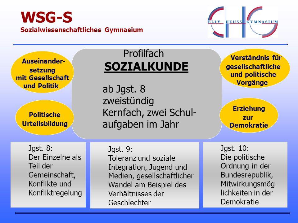 Profilfach SOZIALKUNDE zweistündig Kernfach, zwei Schul- aufgaben im Jahr ab Jgst.