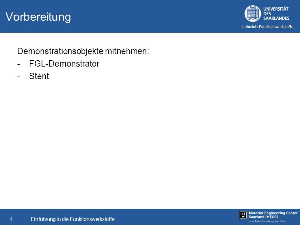 Einführung in die Funktionswerkstoffe1 Lehrstuhl Funktionswerkstoffe Vorbereitung Demonstrationsobjekte mitnehmen: -FGL-Demonstrator -Stent