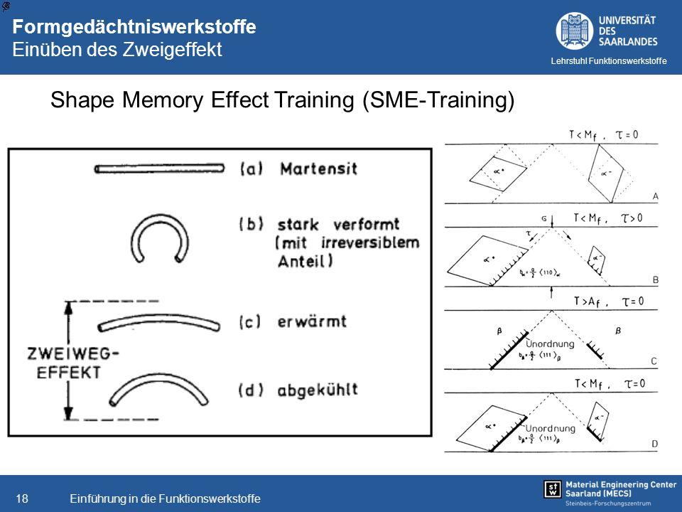 Einführung in die Funktionswerkstoffe18 Lehrstuhl Funktionswerkstoffe Formgedächtniswerkstoffe Einüben des Zweigeffekt Shape Memory Effect Training (S