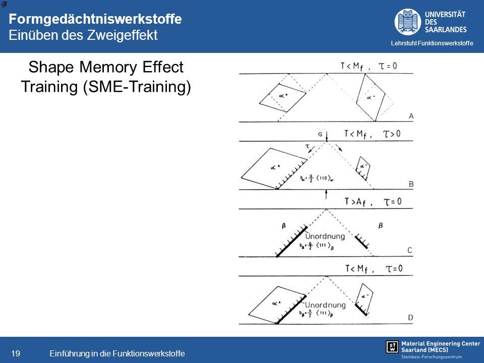 Einführung in die Funktionswerkstoffe19 Lehrstuhl Funktionswerkstoffe Formgedächtniswerkstoffe Einüben des Zweigeffekt Shape Memory Effect Training (S