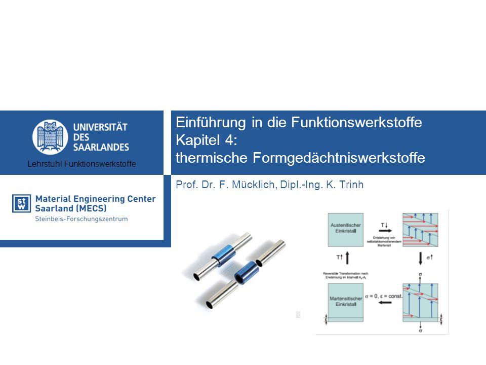 Lehrstuhl Funktionswerkstoffe Einführung in die Funktionswerkstoffe Kapitel 4: thermische Formgedächtniswerkstoffe Prof. Dr. F. Mücklich, Dipl.-Ing. K