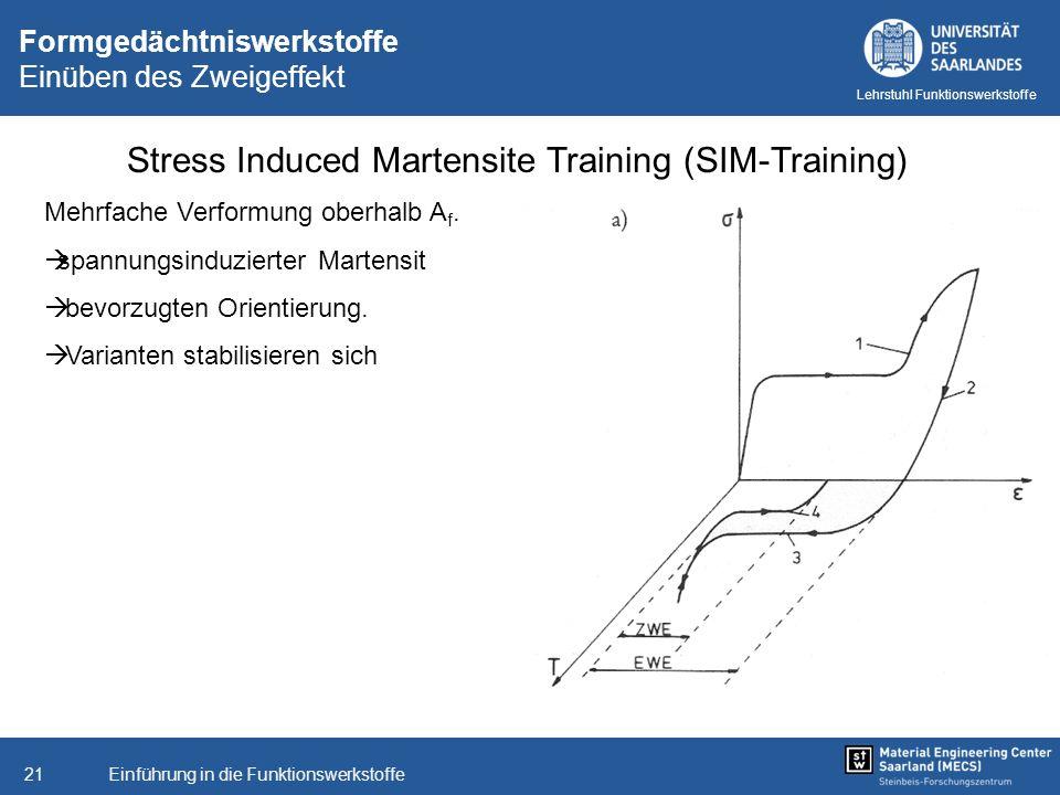 Einführung in die Funktionswerkstoffe21 Lehrstuhl Funktionswerkstoffe Formgedächtniswerkstoffe Einüben des Zweigeffekt Stress Induced Martensite Train