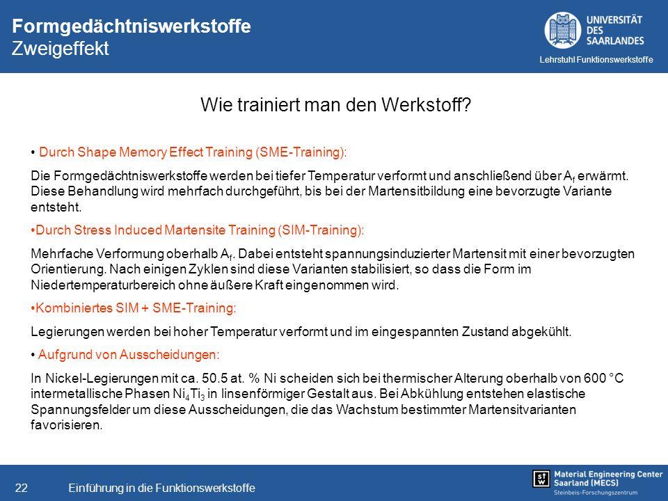Einführung in die Funktionswerkstoffe22 Lehrstuhl Funktionswerkstoffe Formgedächtniswerkstoffe Zweigeffekt Wie trainiert man den Werkstoff? Durch Shap