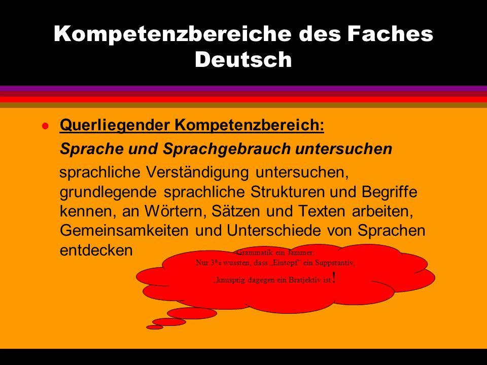Kompetenzbereiche des Faches Deutsch Prozessbezogener Kompetenzbereich: Methoden und Arbeitstechniken werden grundsätzlich im Zusammenhang mit den Inh