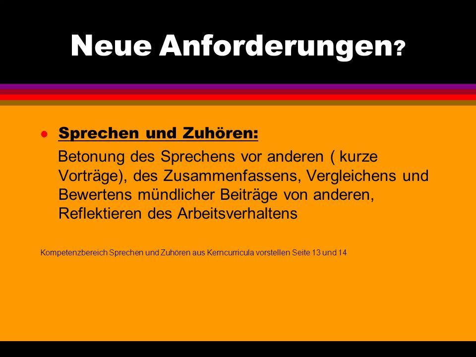 Kompetenzbereiche des Faches Deutsch Querliegender Kompetenzbereich: Sprache und Sprachgebrauch untersuchen sprachliche Verständigung untersuchen, gru