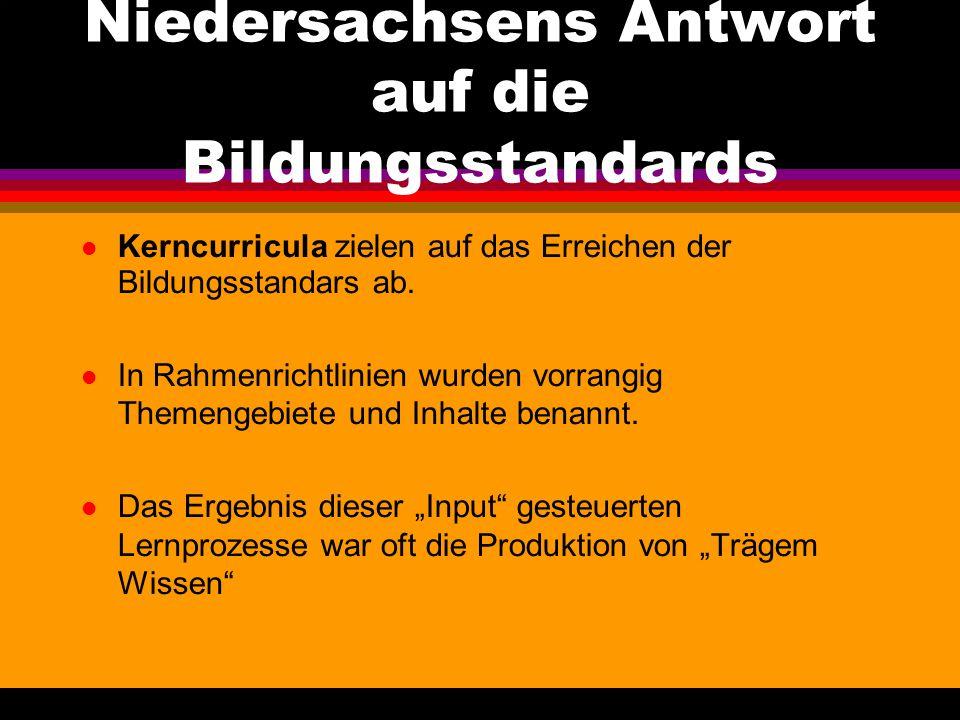 Niedersachsens Antwort auf die Bildungsstandards Kerncurricula. für alle Fächer der Grundschule lösen zum Schuljahresbeginn2006/2007 die Rahmenrichtli