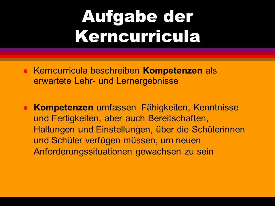 Niedersachsens Antwort auf die Bildungsstandards Kerncurricula zielen auf das Erreichen der Bildungsstandars ab. In Rahmenrichtlinien wurden vorrangig