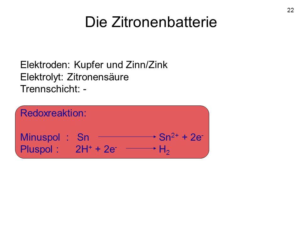 22 Die Zitronenbatterie Elektroden: Kupfer und Zinn/Zink Elektrolyt: Zitronensäure Trennschicht: - Redoxreaktion: Minuspol : Sn Sn 2+ + 2e - Pluspol :