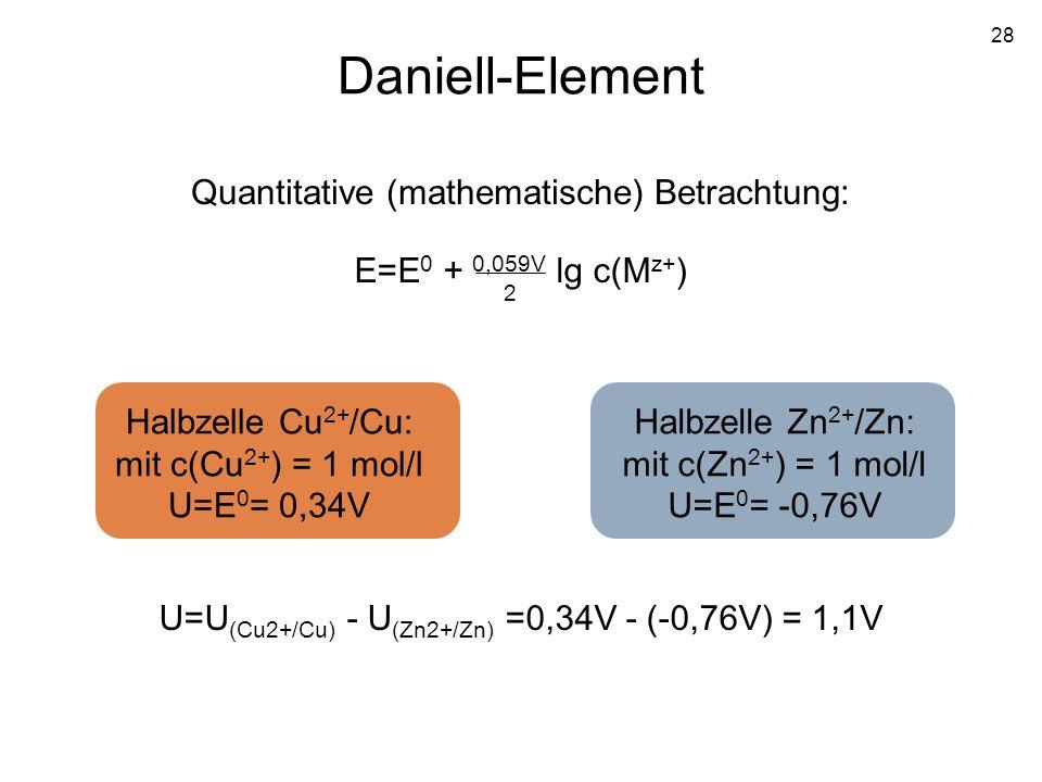 28 Daniell-Element Quantitative (mathematische) Betrachtung: E=E 0 + 0,059V lg c(M z+ ) 2 Halbzelle Cu 2+ /Cu: mit c(Cu 2+ ) = 1 mol/l U=E 0 = 0,34V H