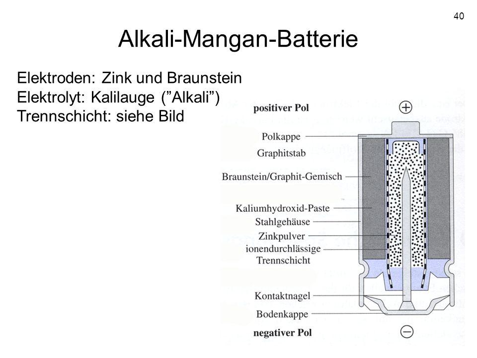 40 Alkali-Mangan-Batterie Elektroden: Zink und Braunstein Elektrolyt: Kalilauge (Alkali) Trennschicht: siehe Bild