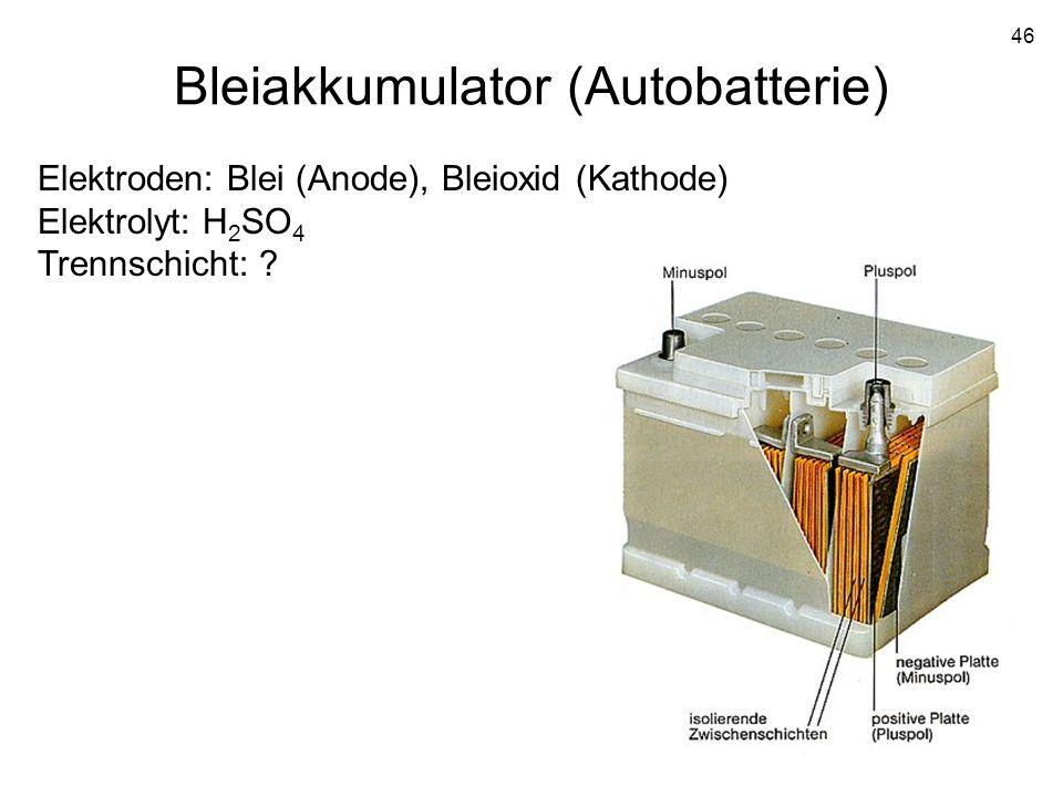 46 Bleiakkumulator (Autobatterie) Elektroden: Blei (Anode), Bleioxid (Kathode) Elektrolyt: H 2 SO 4 Trennschicht: ?