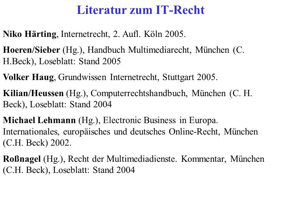 Niko Härting, Internetrecht, 2. Aufl. Köln 2005.