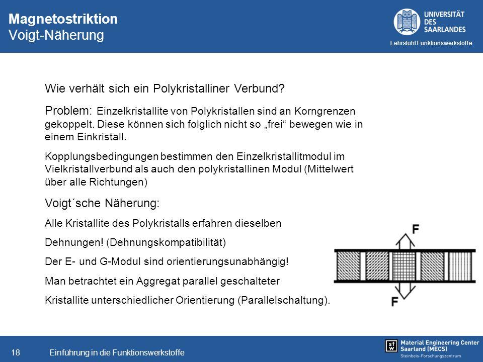 Einführung in die Funktionswerkstoffe18 Lehrstuhl Funktionswerkstoffe Wie verhält sich ein Polykristalliner Verbund? Problem: Einzelkristallite von Po