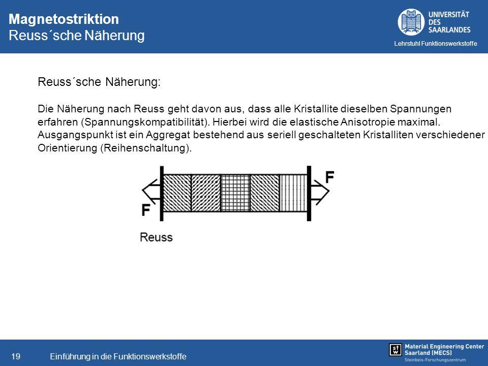 Einführung in die Funktionswerkstoffe19 Lehrstuhl Funktionswerkstoffe Magnetostriktion Reuss´sche Näherung Reuss´sche Näherung: Die Näherung nach Reus