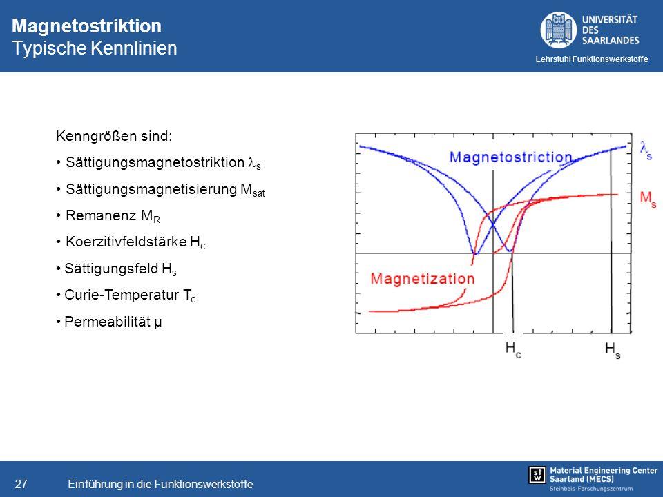 Einführung in die Funktionswerkstoffe27 Lehrstuhl Funktionswerkstoffe Magnetostriktion Typische Kennlinien Kenngrößen sind: Sättigungsmagnetostriktion