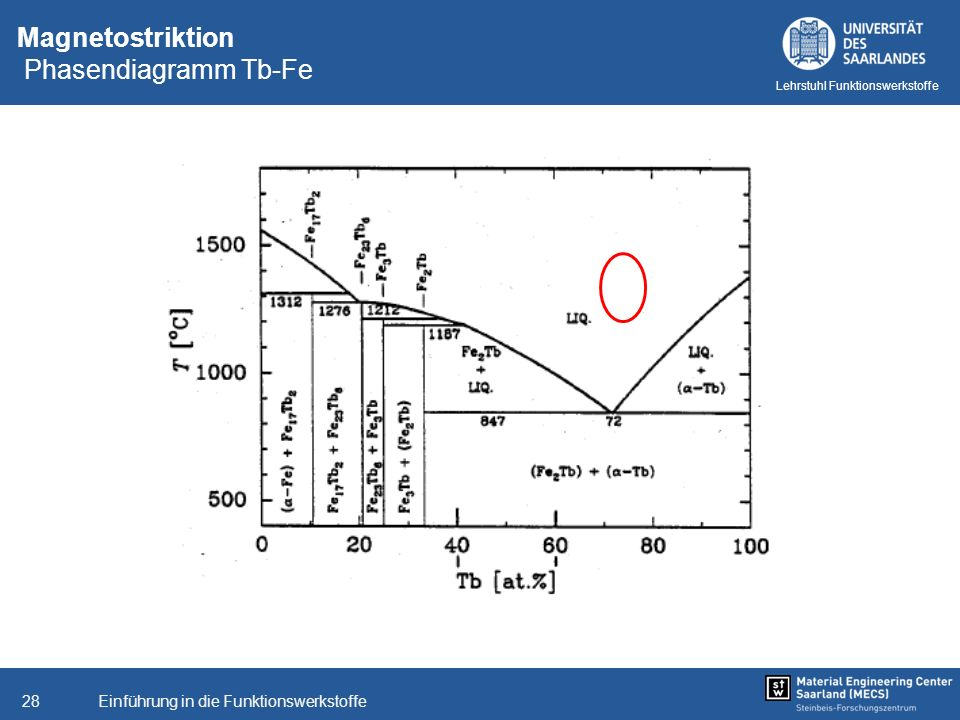 Einführung in die Funktionswerkstoffe28 Lehrstuhl Funktionswerkstoffe Magnetostriktion Phasendiagramm Tb-Fe