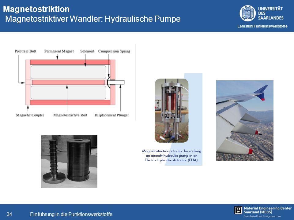 Einführung in die Funktionswerkstoffe34 Lehrstuhl Funktionswerkstoffe Magnetostriktion Magnetostriktiver Wandler: Hydraulische Pumpe