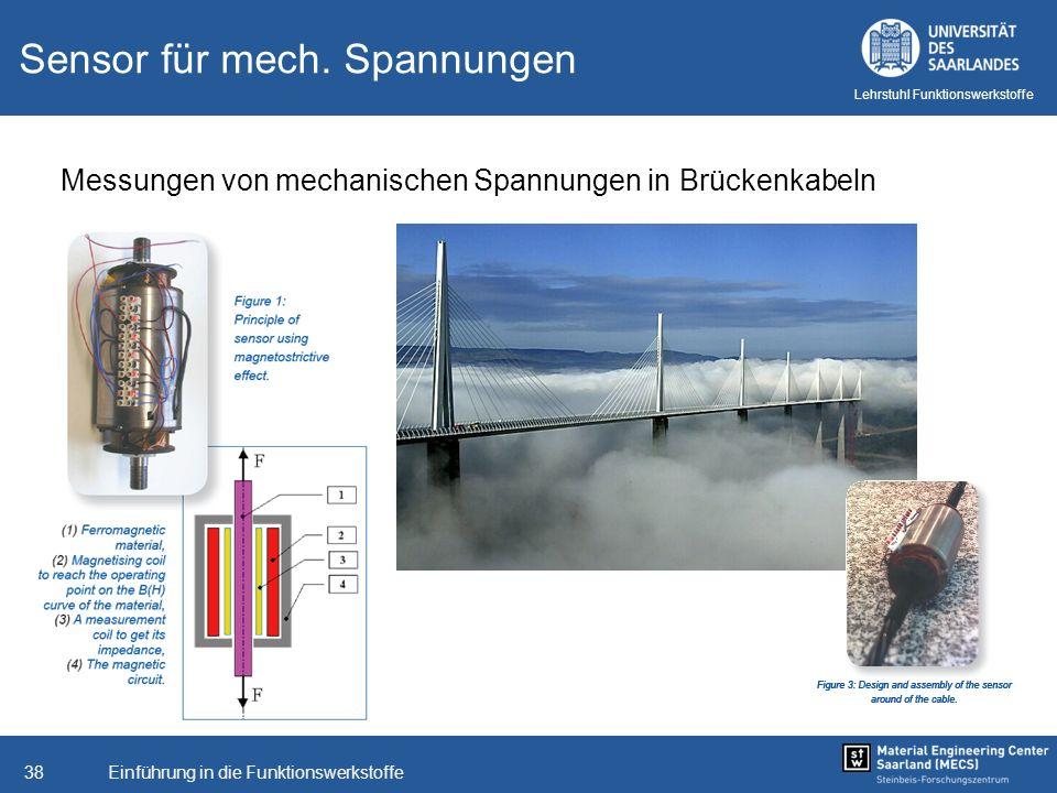 Einführung in die Funktionswerkstoffe38 Lehrstuhl Funktionswerkstoffe Sensor für mech. Spannungen Messungen von mechanischen Spannungen in Brückenkabe