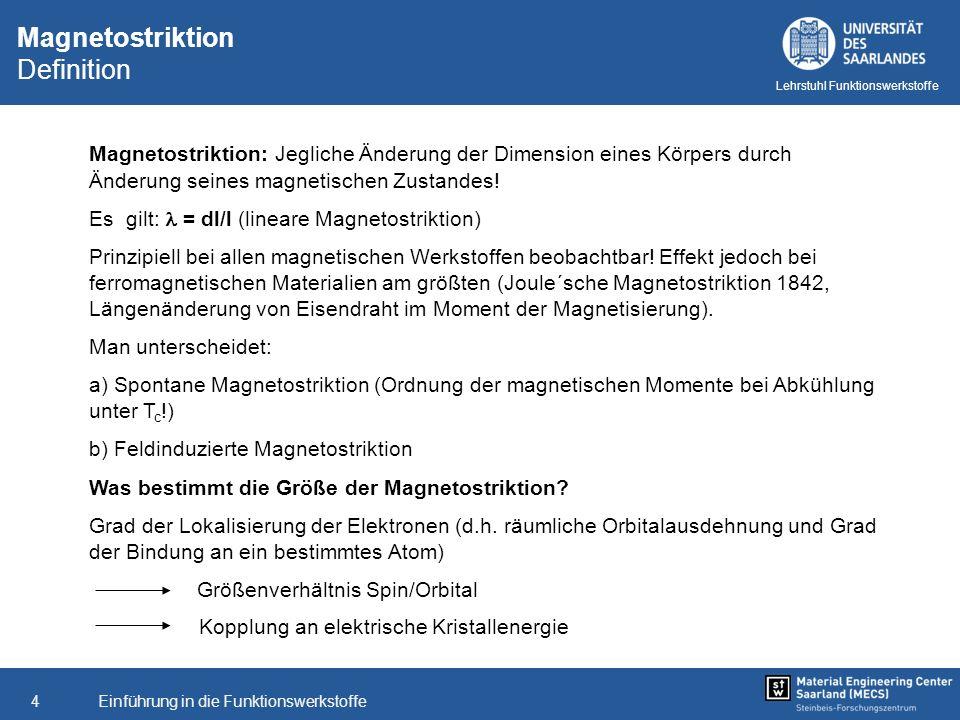 Einführung in die Funktionswerkstoffe4 Lehrstuhl Funktionswerkstoffe Magnetostriktion Definition Magnetostriktion: Jegliche Änderung der Dimension ein
