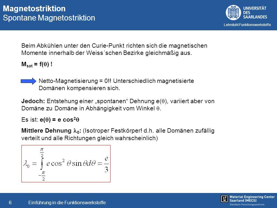 Einführung in die Funktionswerkstoffe6 Lehrstuhl Funktionswerkstoffe Jedoch: Entstehung einer spontanen Dehnung e( ), variiert aber von Domäne zu Domä