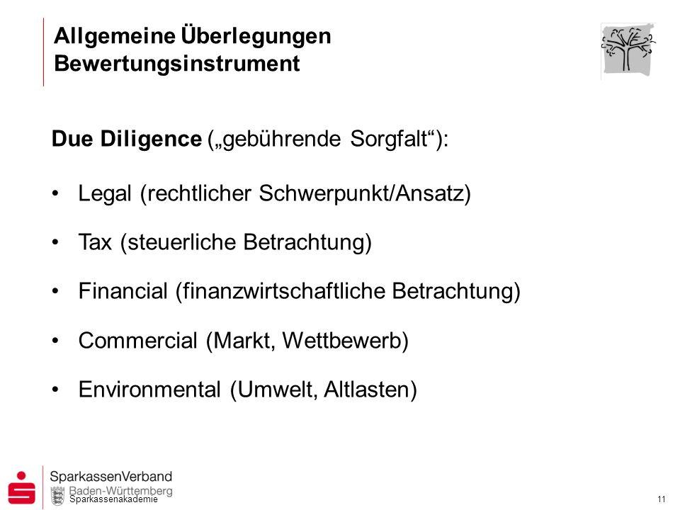 Sparkassenakademie 11 Due Diligence (gebührende Sorgfalt): Legal (rechtlicher Schwerpunkt/Ansatz) Tax (steuerliche Betrachtung) Financial (finanzwirts