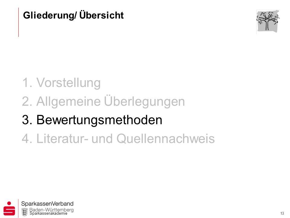 Sparkassenakademie 13 1.Vorstellung 2.Allgemeine Überlegungen 3.Bewertungsmethoden 4.Literatur- und Quellennachweis Gliederung/ Übersicht