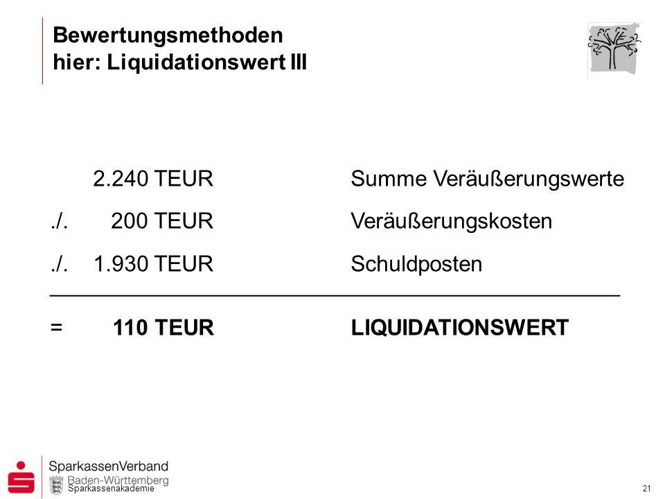 Sparkassenakademie 21 2.240 TEURSumme Veräußerungswerte./.200 TEURVeräußerungskosten./.1.930 TEURSchuldposten ________________________________________