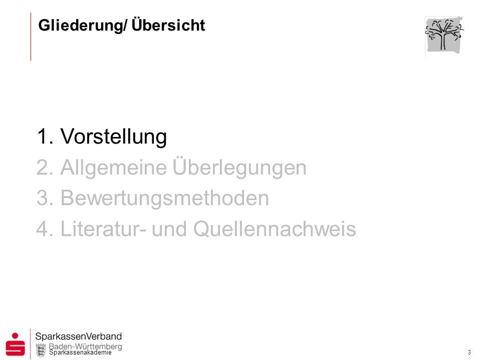 Sparkassenakademie 3 1.Vorstellung 2.Allgemeine Überlegungen 3.Bewertungsmethoden 4.Literatur- und Quellennachweis Gliederung/ Übersicht