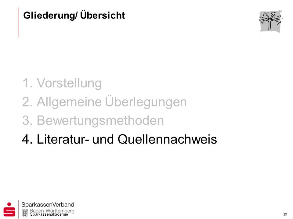 Sparkassenakademie 30 1.Vorstellung 2.Allgemeine Überlegungen 3.Bewertungsmethoden 4.Literatur- und Quellennachweis Gliederung/ Übersicht